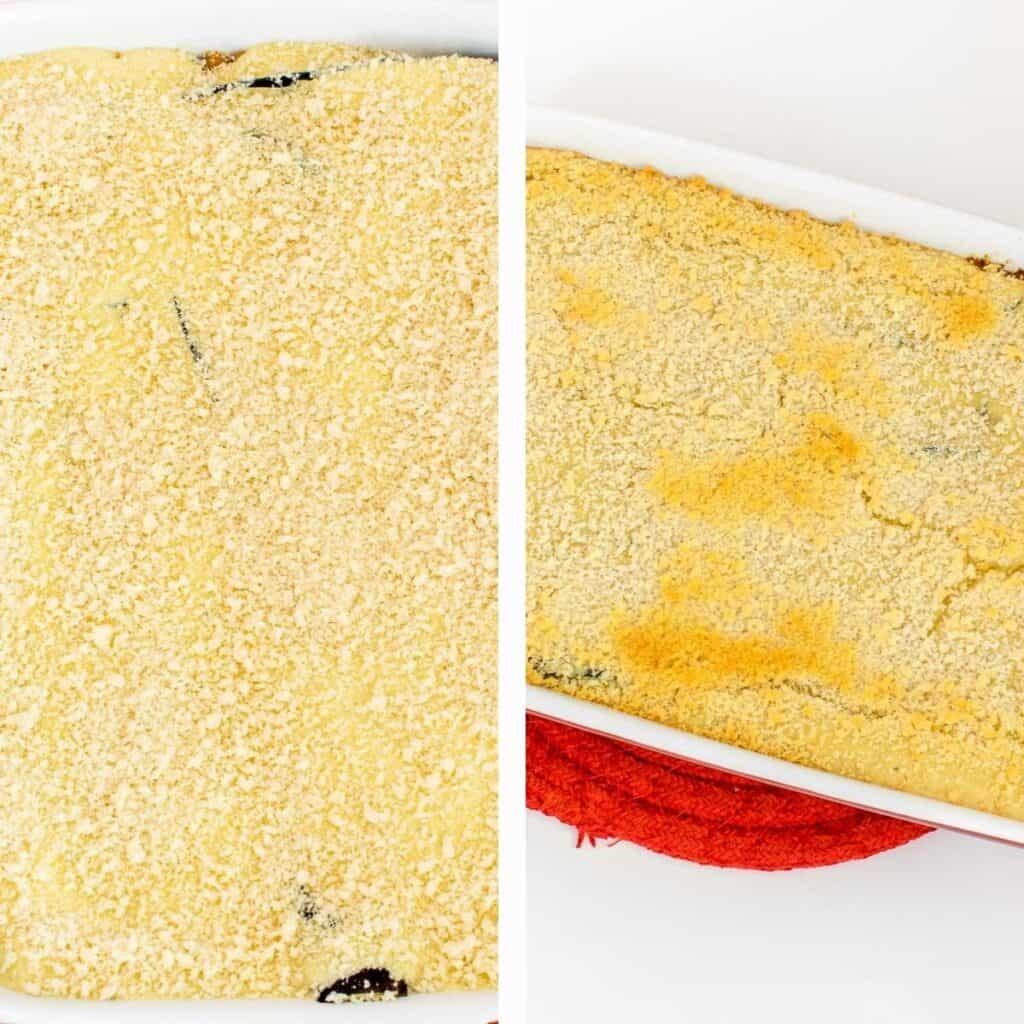 steps to bake vegan moussaka.