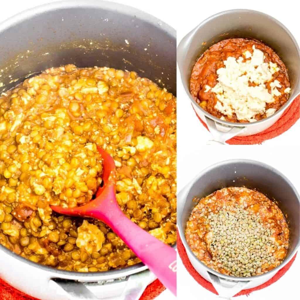 steps to cook tofu lentil filling.