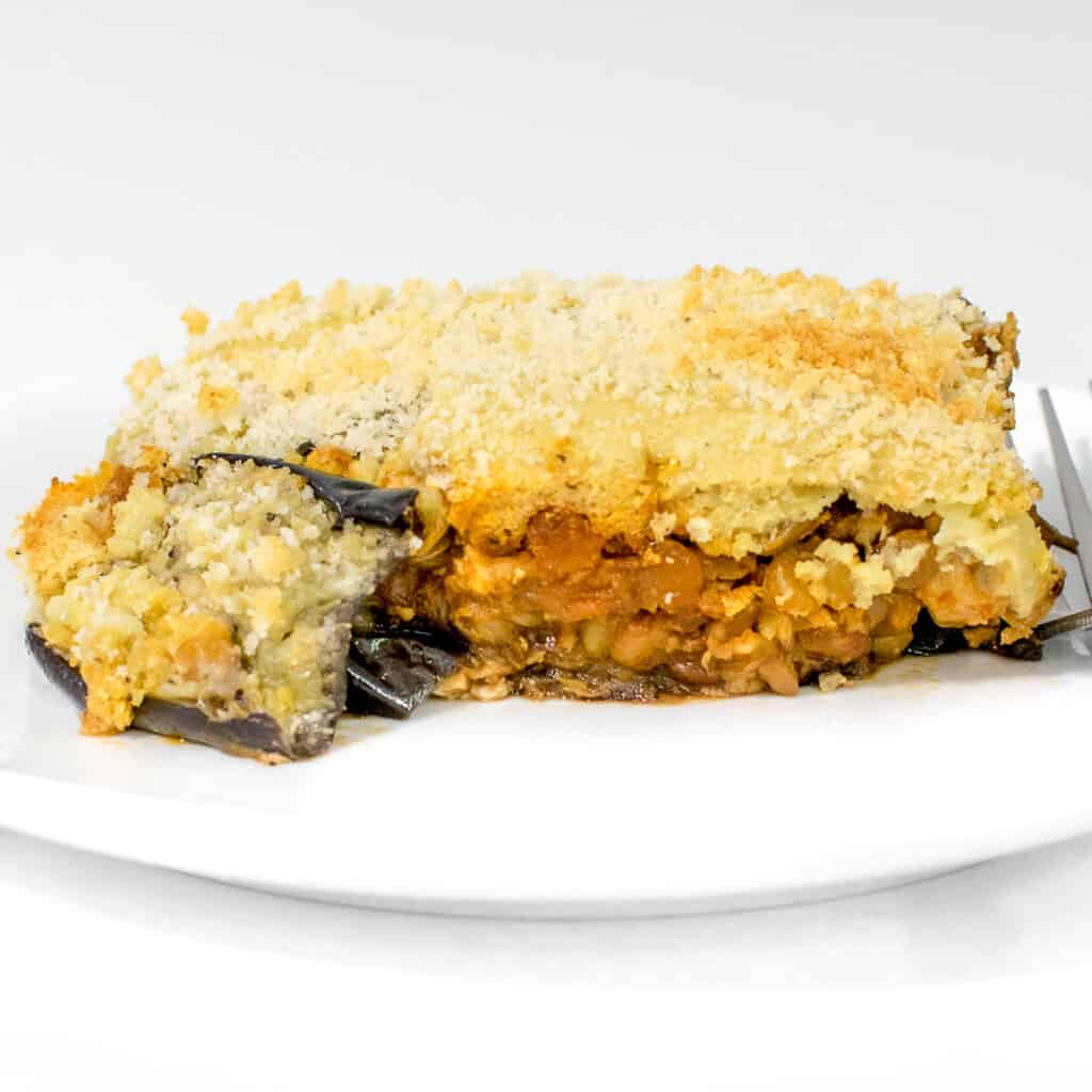 a front view of vegan moussaka.