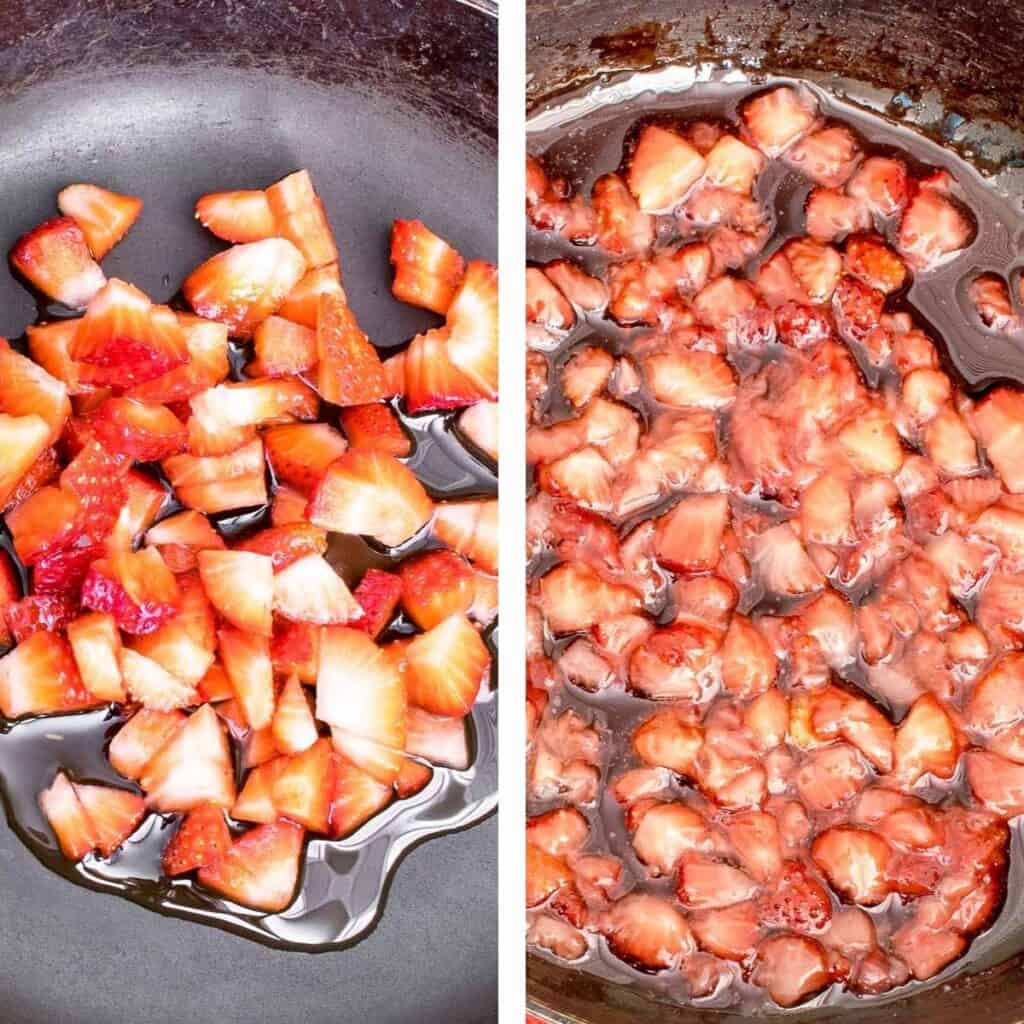 steps to cook strawberry compote.