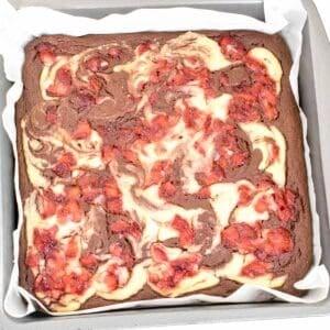 fresh baked strawberry cheesecake brownies.