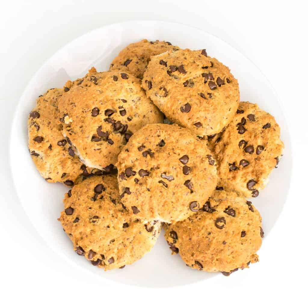 top view of a plate full of air fryer cookies.