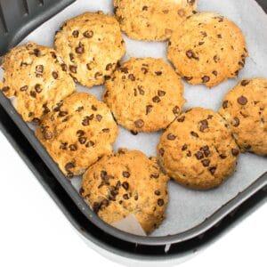 top view of air fryer cookies in the basket