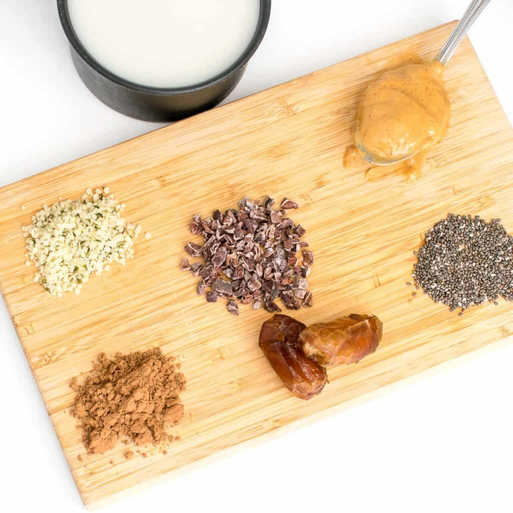 top view of all the ingredients on a wooden board.