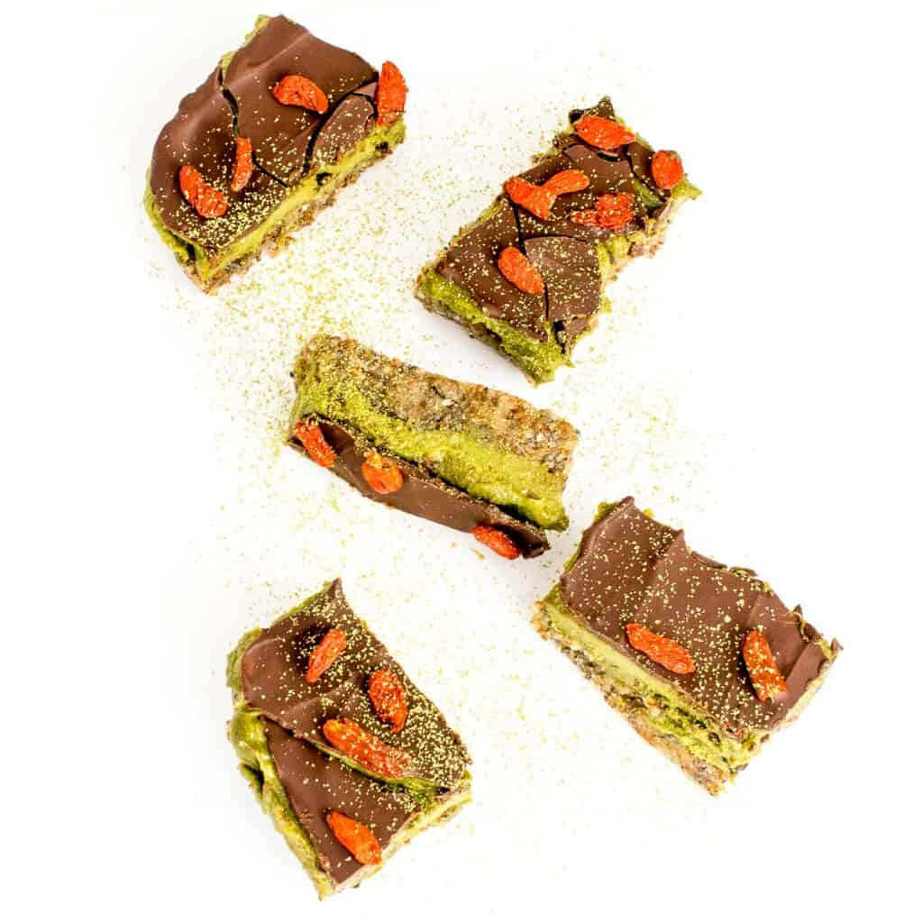 top view of scattered matcha bars.