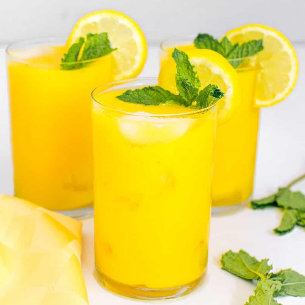 a front view of mango lemonade.