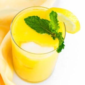 close up view of mango lemonade