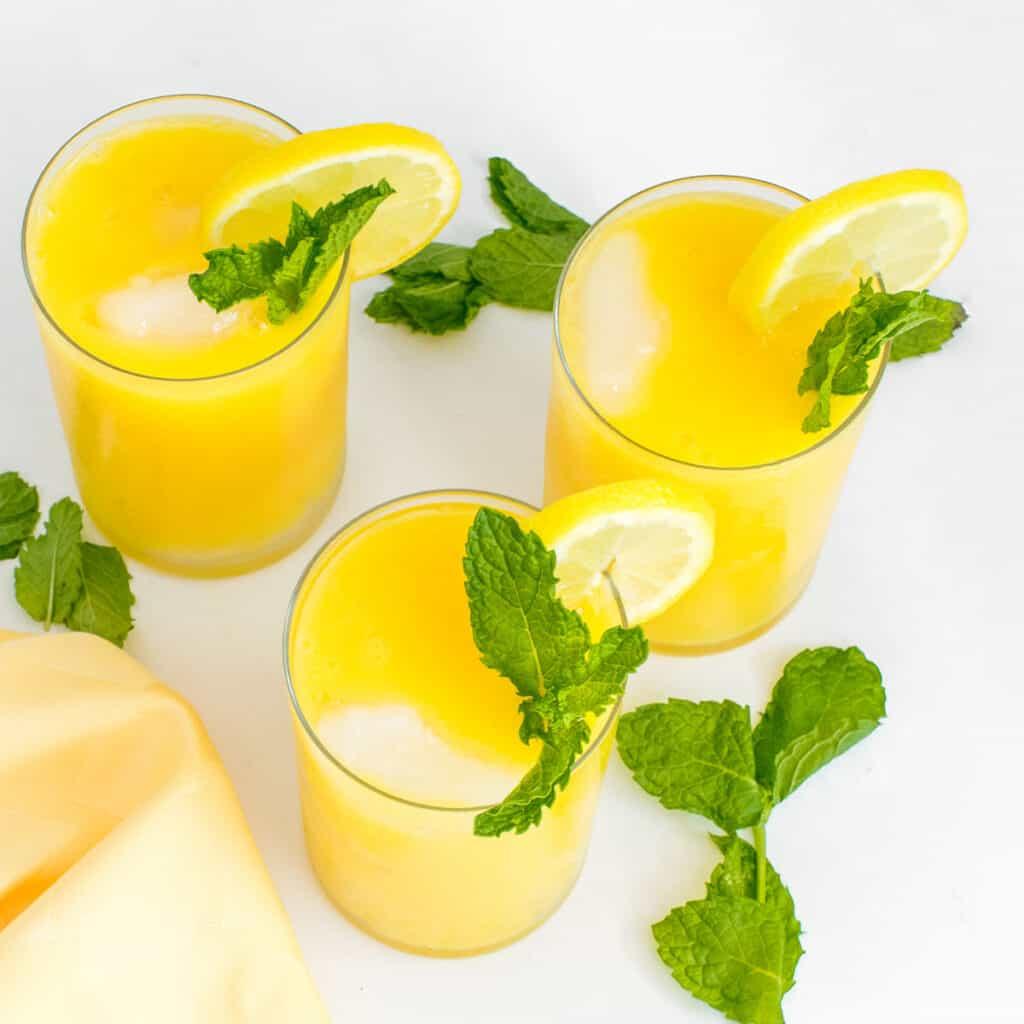 top view of mango lemonade.