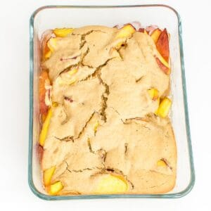 fresh baked vegan peach cobbler