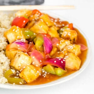 a close up view of sweet and sour tofu.