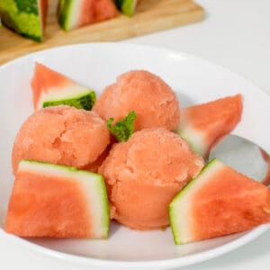 front view of served watermelon ice cream.