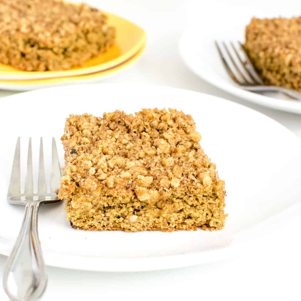 a front view of a slice of vegan coffee cake.