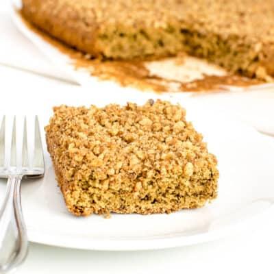 a square slice of vegan coffee cake