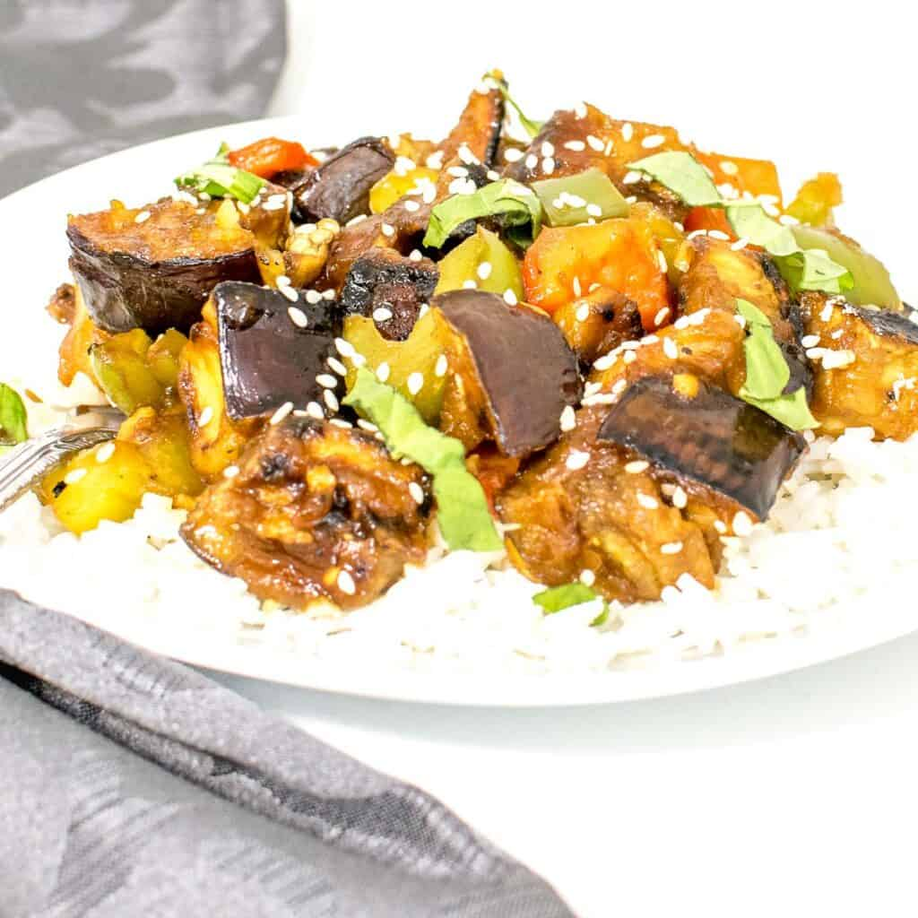 a front view of eggplant stir fry
