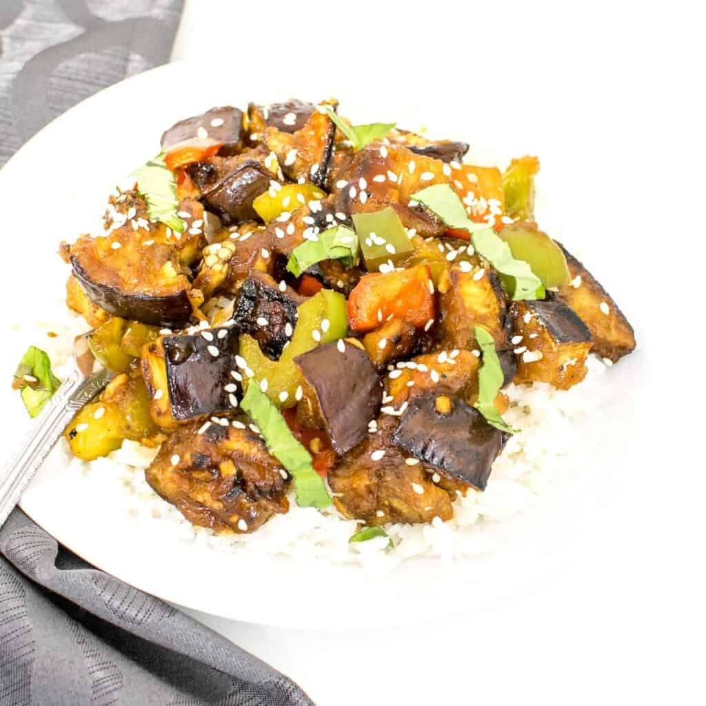 a 45 degree angle view of eggplant stir fry.