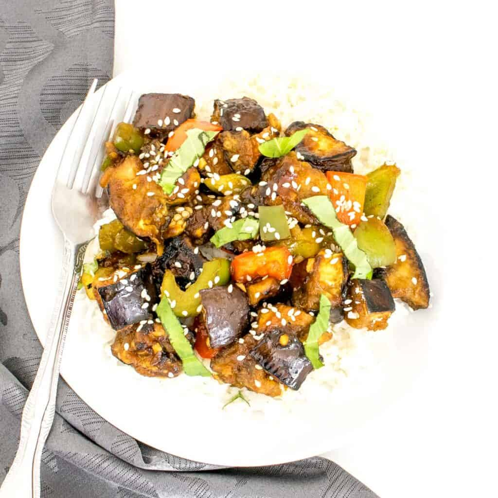 top view of served eggplant stir fry