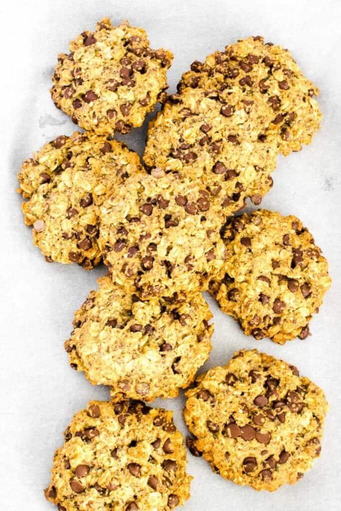 top view of vegan oatmeal chocolate chip cookies.