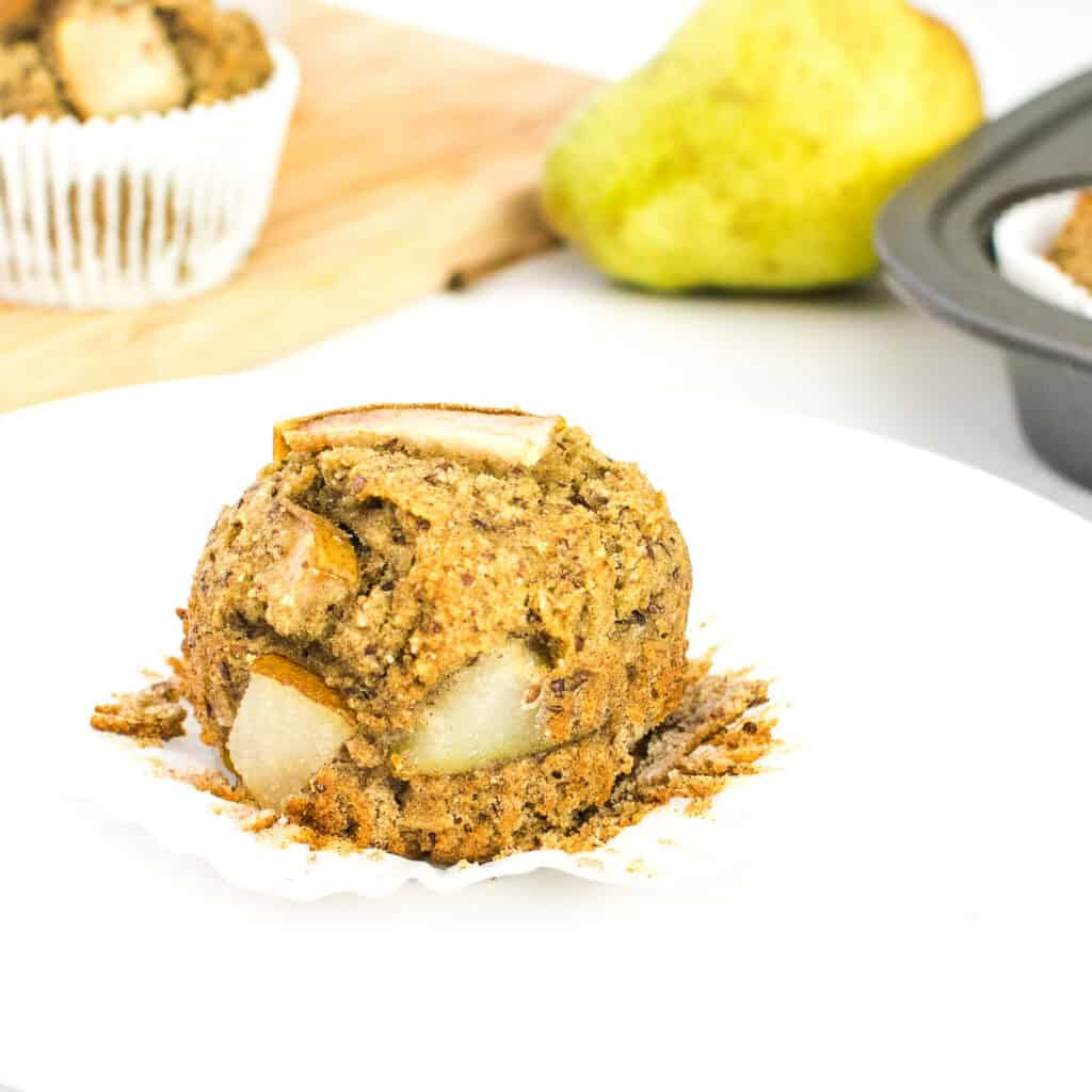 pear muffins without the liners showing its inside.