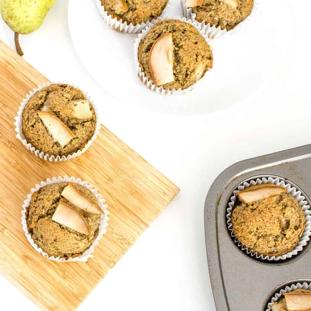 top view of pear muffins.