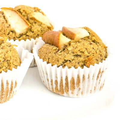 a close up view of pear muffins.