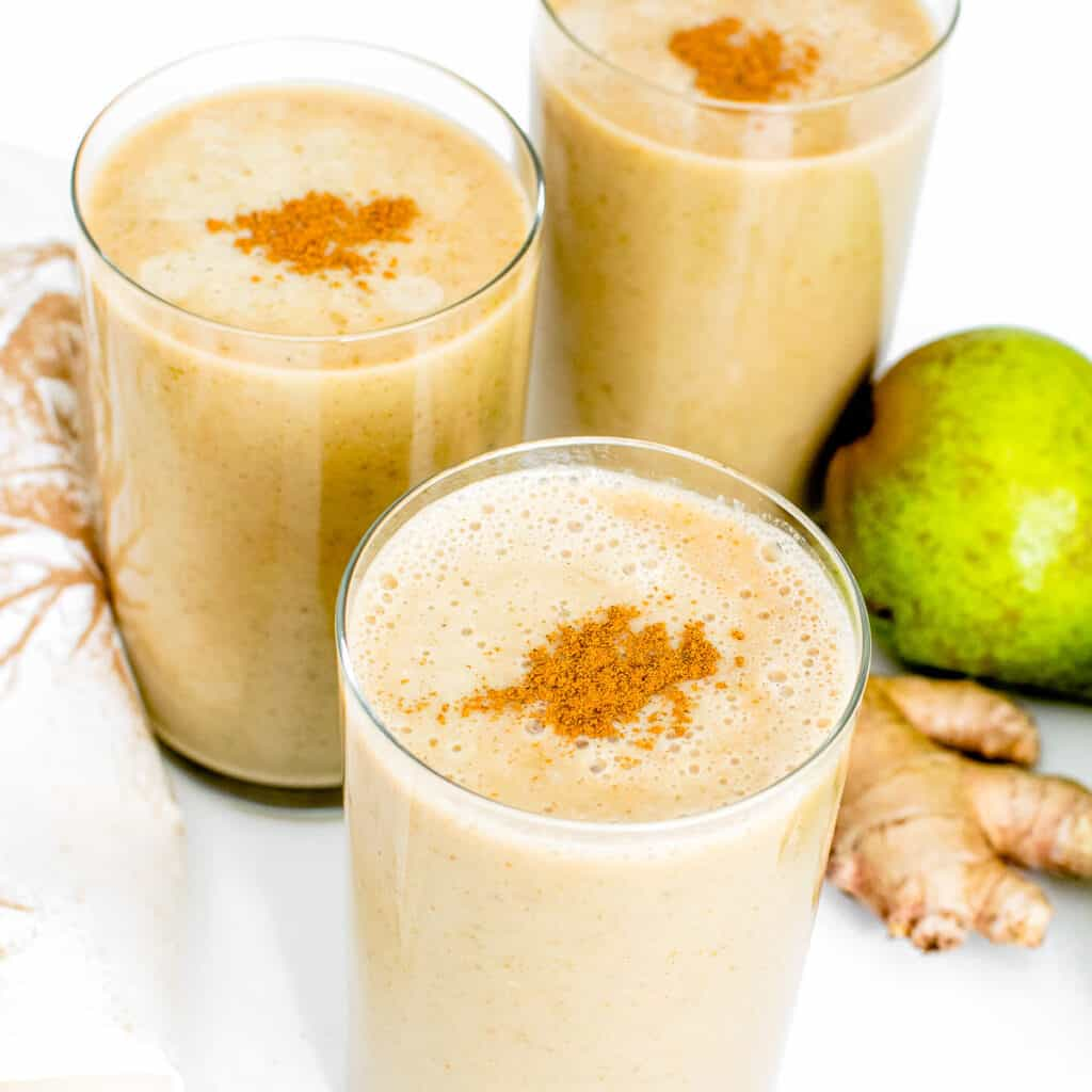 a close up view of pear smoothie.