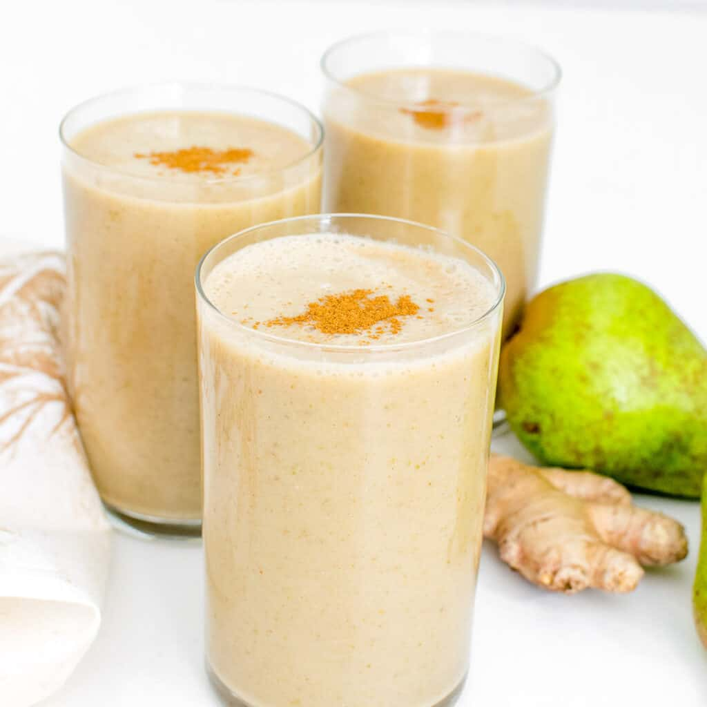 close up front view of pear smoothie.