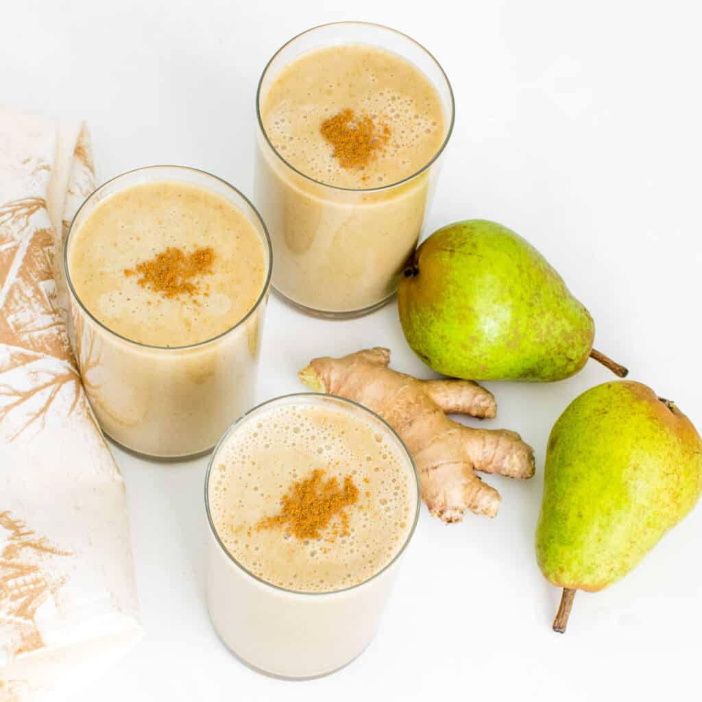 top view of pear smoothie.