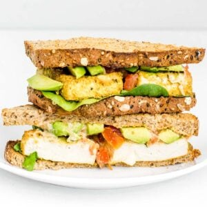 a front view of stacked tofu sandwich