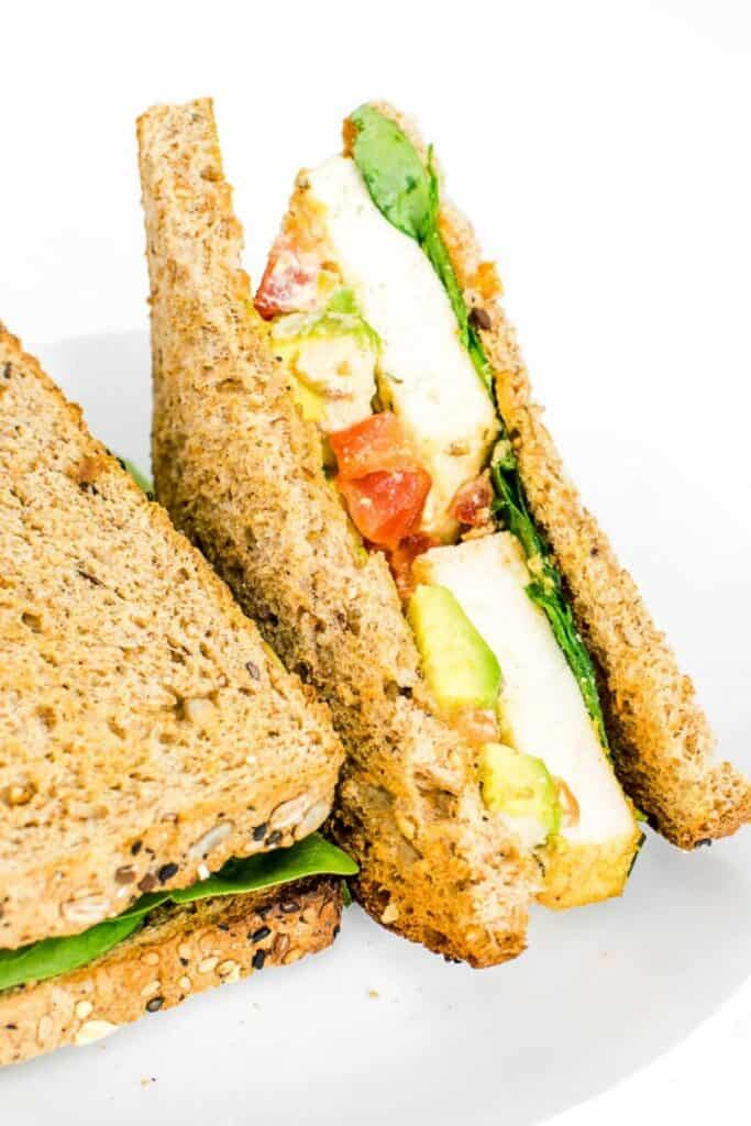 a close up view of tofu sandwich.