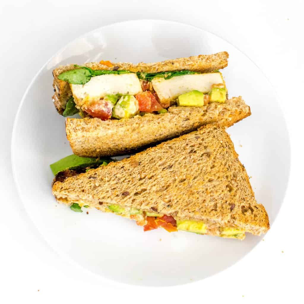 top view of served tofu sandwich