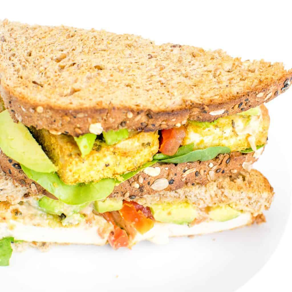 a 45 degree angle view of tofu sandwich.