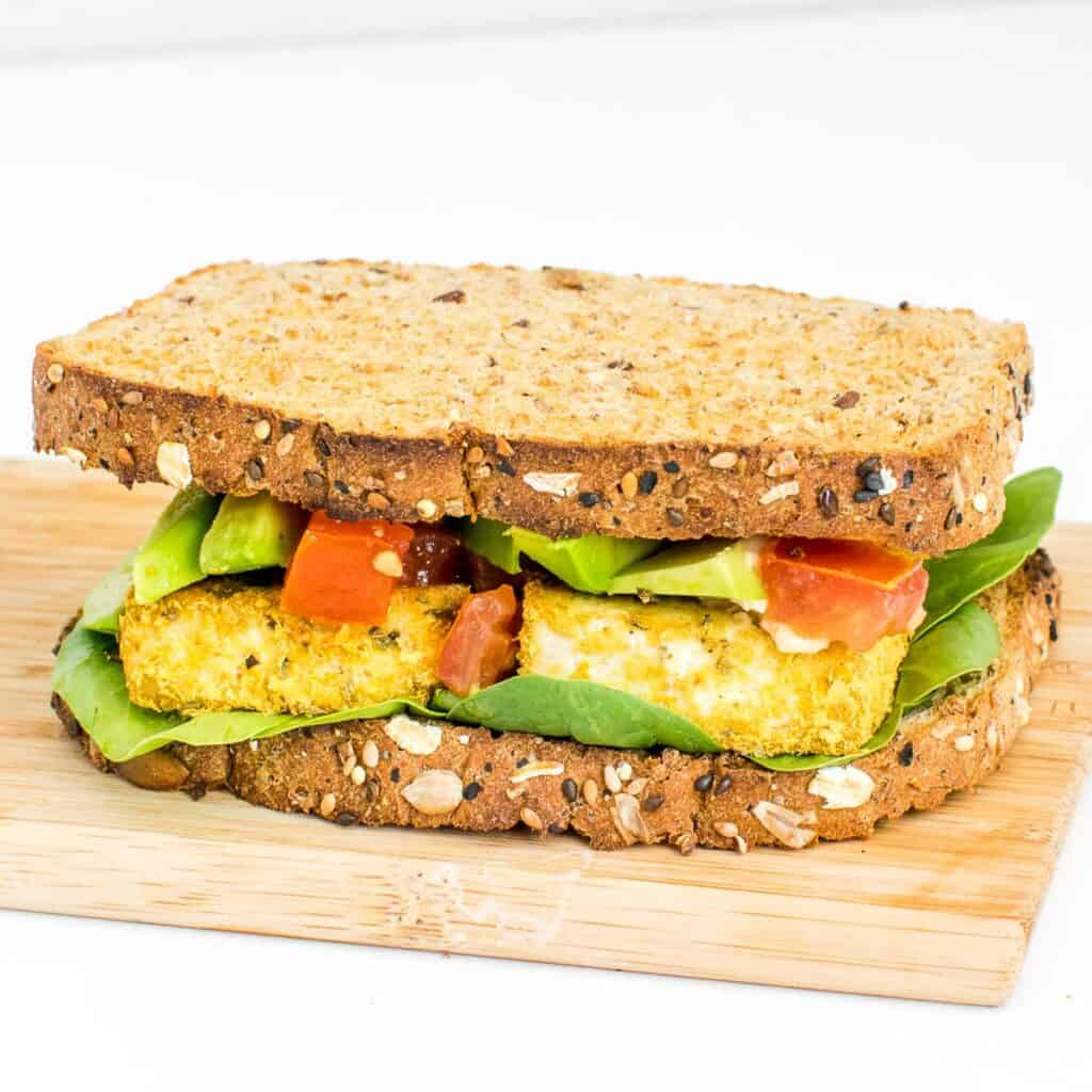 30 degree angle view of the whole tofu sandwich.