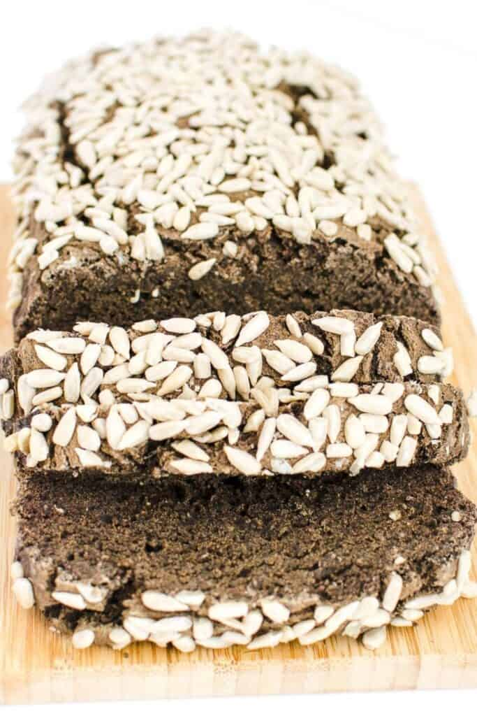 a close up view of sliced buckwheat bread.