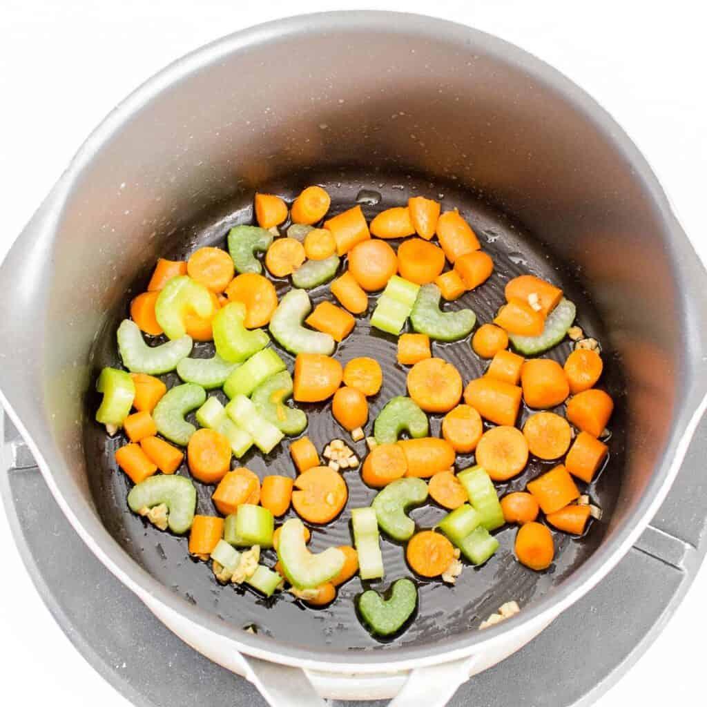 sautéing veggies in oil.