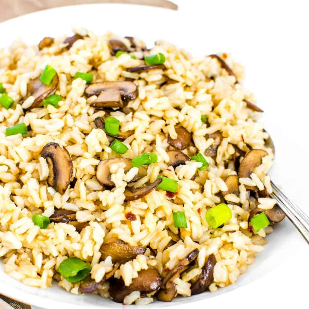 a 45 degree angle view of mushroom fried rice.