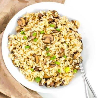 top view of mushroom fried rice