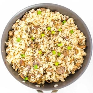 mushroom fried rice in the pan.