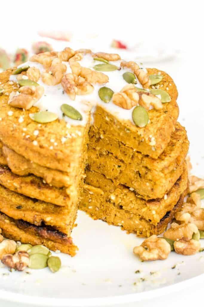 inside view of vegan pumpkin pancakes.
