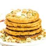 front view of stacked vegan pumpkin pancakes.