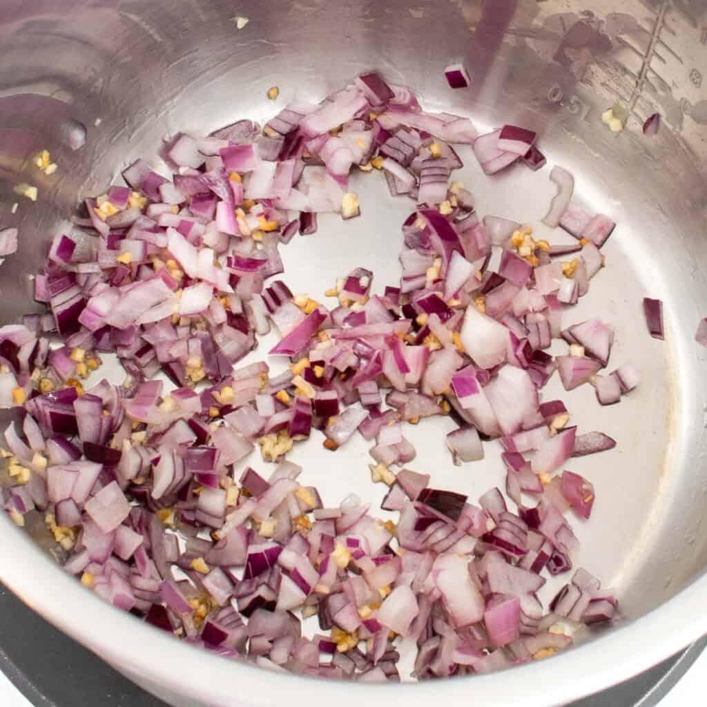sautéed garlic and onion in oil.