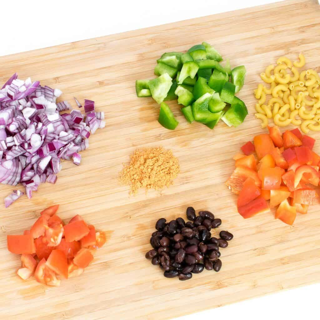 all the ingredients on a wooden board.