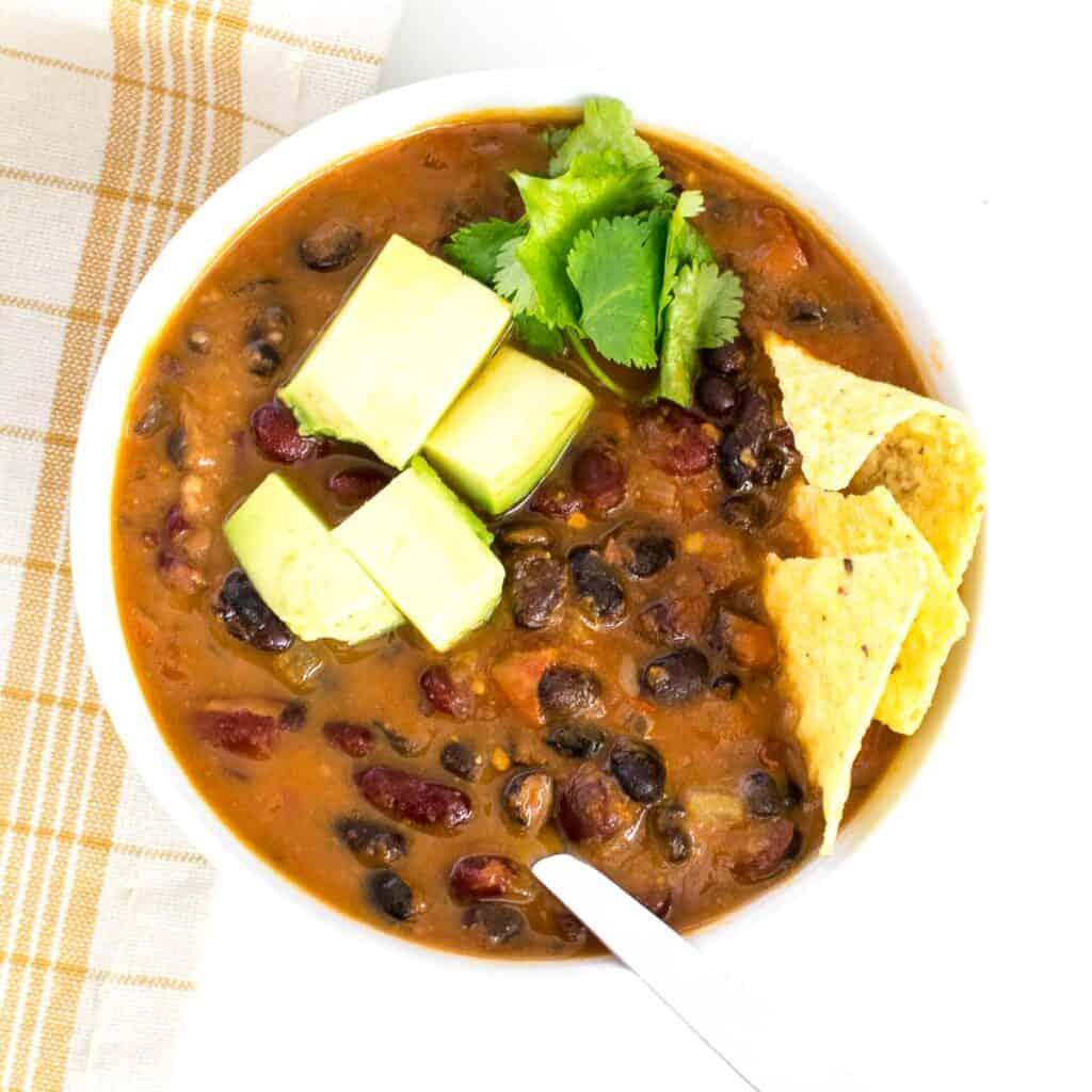 top close up view of instant pot vegan chili.