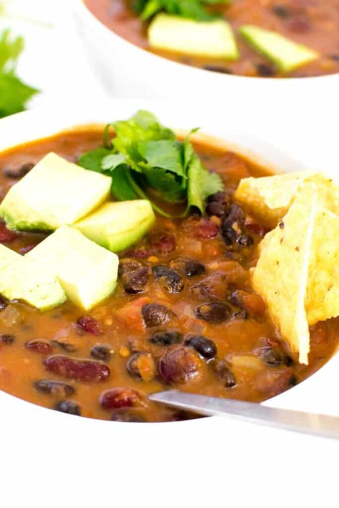 a close up view of instant pot vegan chili.
