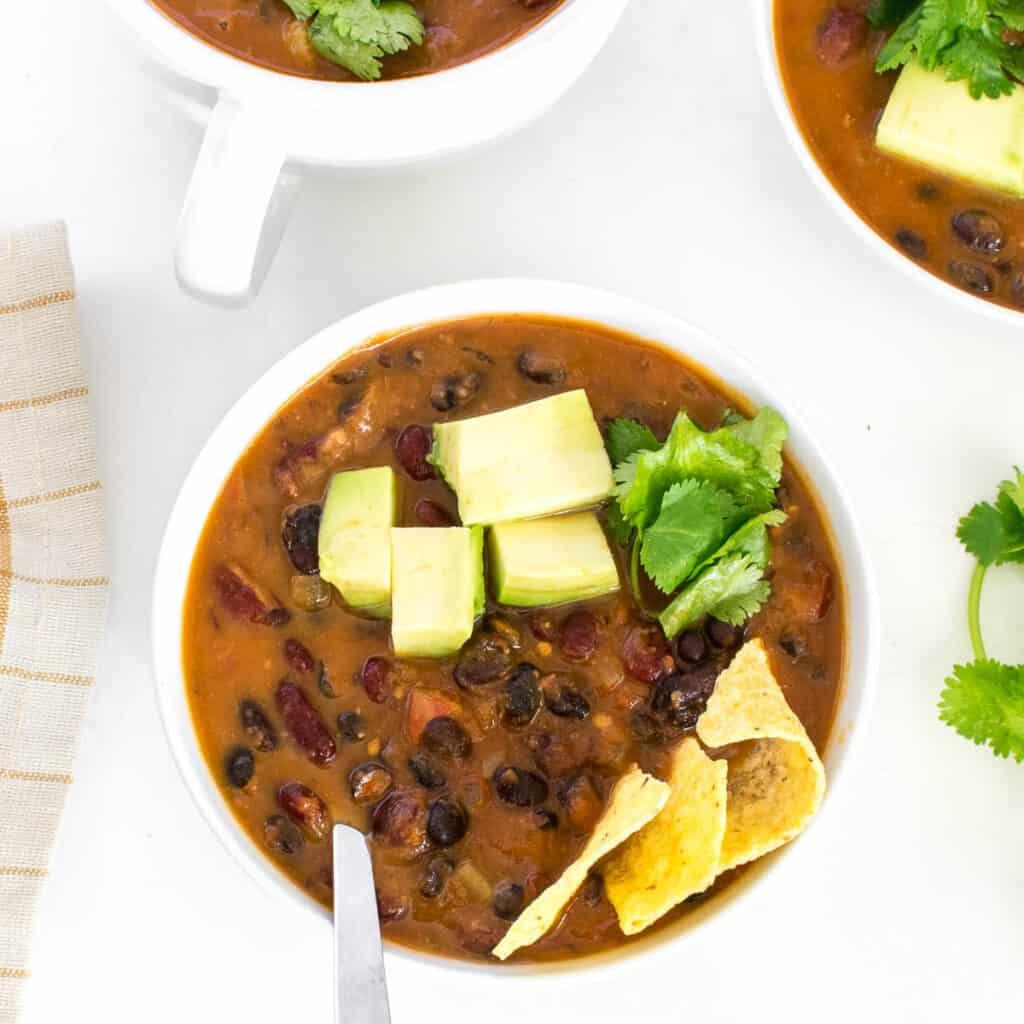 served instant pot vegan chili.