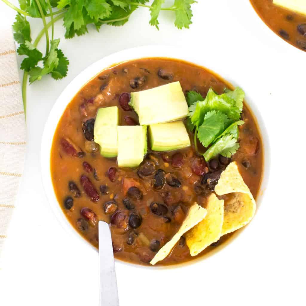 top view of instant pot vegan chili