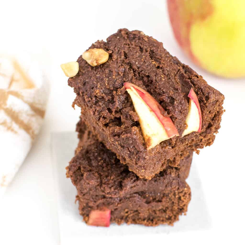 a 45 degree angle view of vegan applesauce brownies.