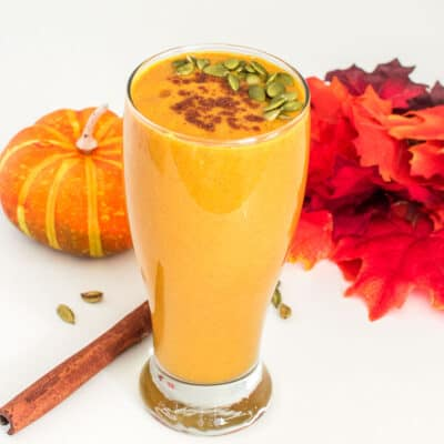 a front view of vegan pumpkin smoothie